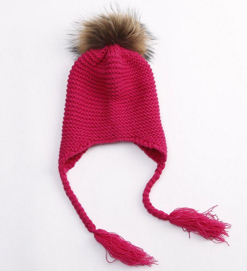 Baby kids braid ears cap children knited hats girl faux fur pompons beanie knited hats baby girls crochet funny tassel hats 2-7T A00155