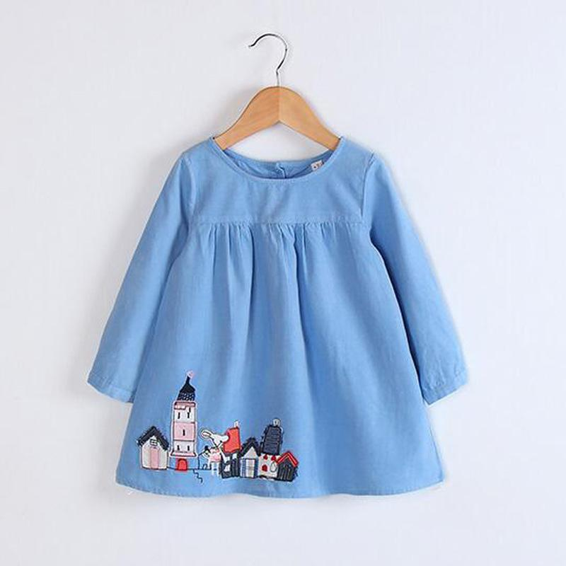Hurave Cute girls dresses 2017 autumn clothes children Princess dresses long-sleeved Printed Kids Dresses For Girls