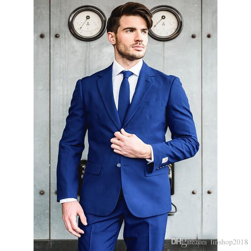 Custom Made Royal Blue Groom Tuxedos Two Buttons Notched Lapel Suit Male Business Casual Solid Color Costume jacket+pants