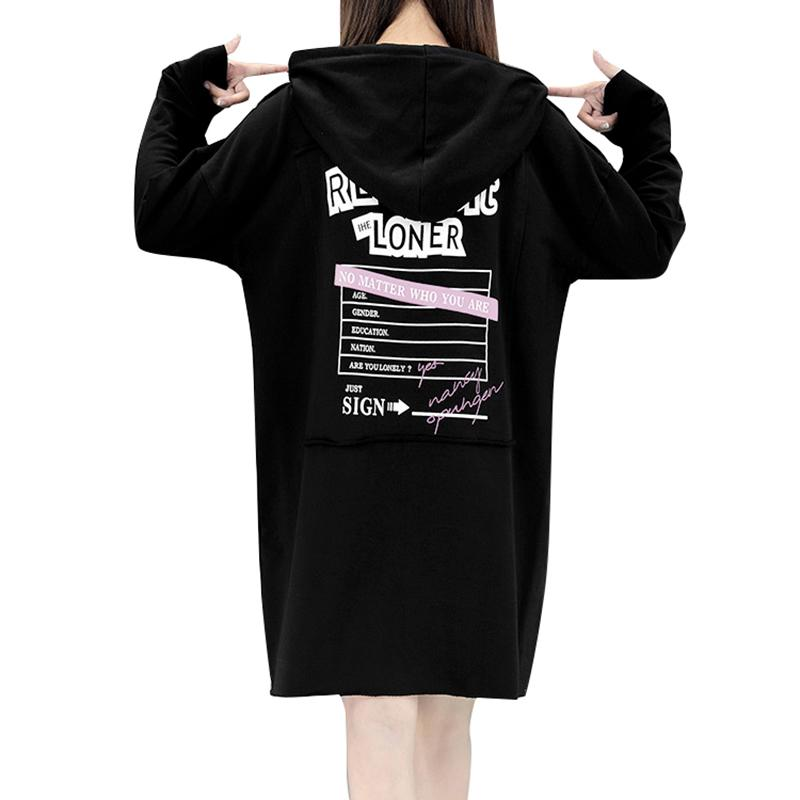 Women Casual Hoodies Dress Hooded Letters Print Long Sleeve Autumn ...