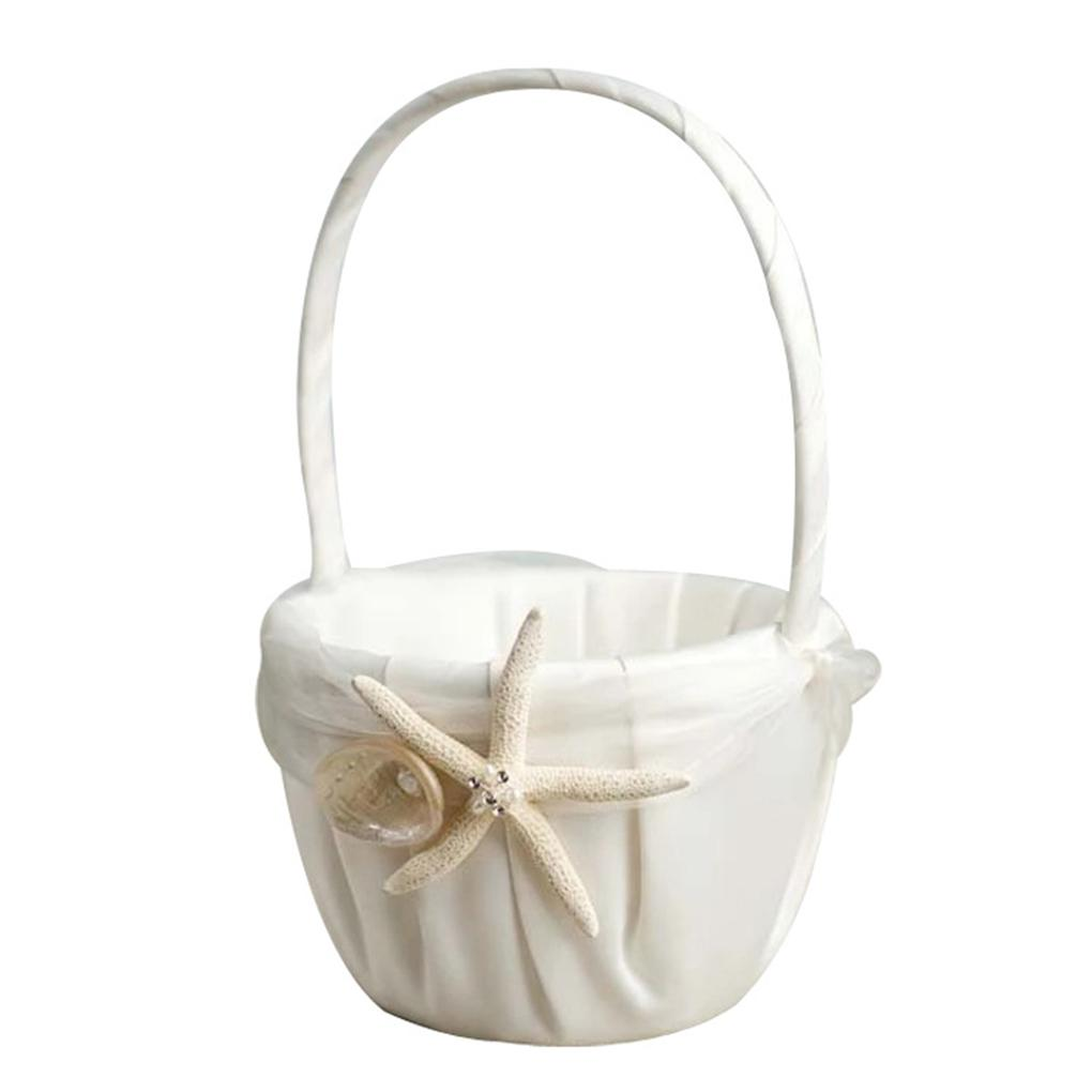 Top Wedding Beach Themed Ivory Flower Girl Basket with Sea Star And ...
