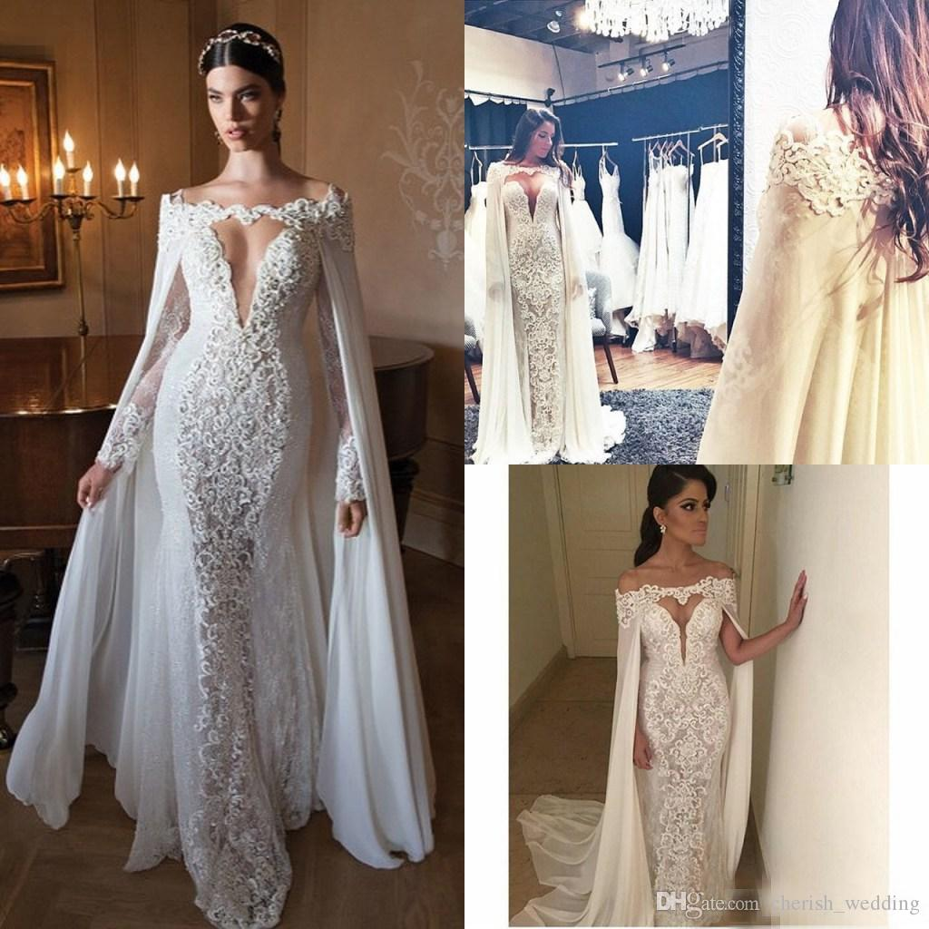 2018 Berta Lace Wedding Dresses With Wrap Off Shoulder Long Sleeves Chiffon  Sexy Long Bridal Gowns Floor Length Custom Made Cowl Backs Latest Wedding  ... 890d06965945