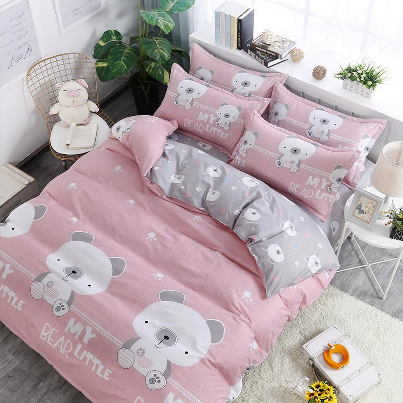 Bedding Set Cartoon bear striped star Japanese pastoral style 4pcs/3pcs Duvet Cover Soft Polyester Flat Bed Sheet Set Pillowcase