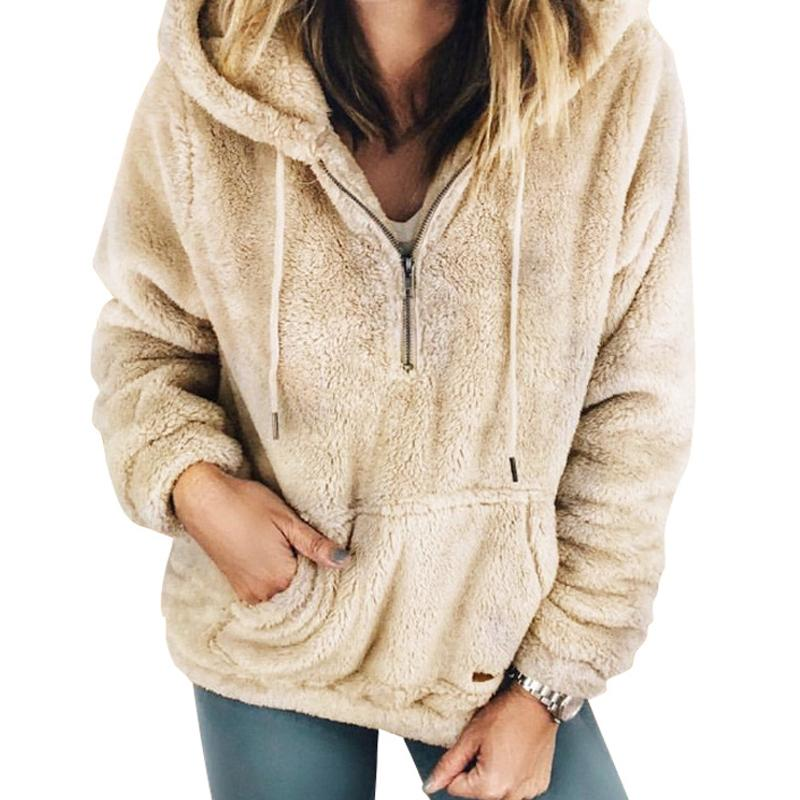 Hooded Casual Warm Fleece Fuzzy Hoodie Soft Long Sleeve Winter Women  Hoodies Sweatshirt Pullovers Zipper Jumpers Kangaroo M0061B Online with   41.95 Piece on ... d041d1ca8