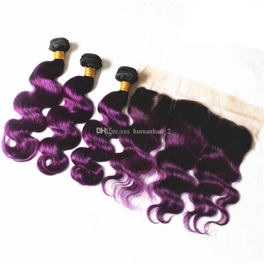T1B Purple Color Body Wave Ombre Brazilian Virgin Human Hair Weave Bundles With 13x4 Ear to Ear Lace Frontal Closure Pre-plucked Hair