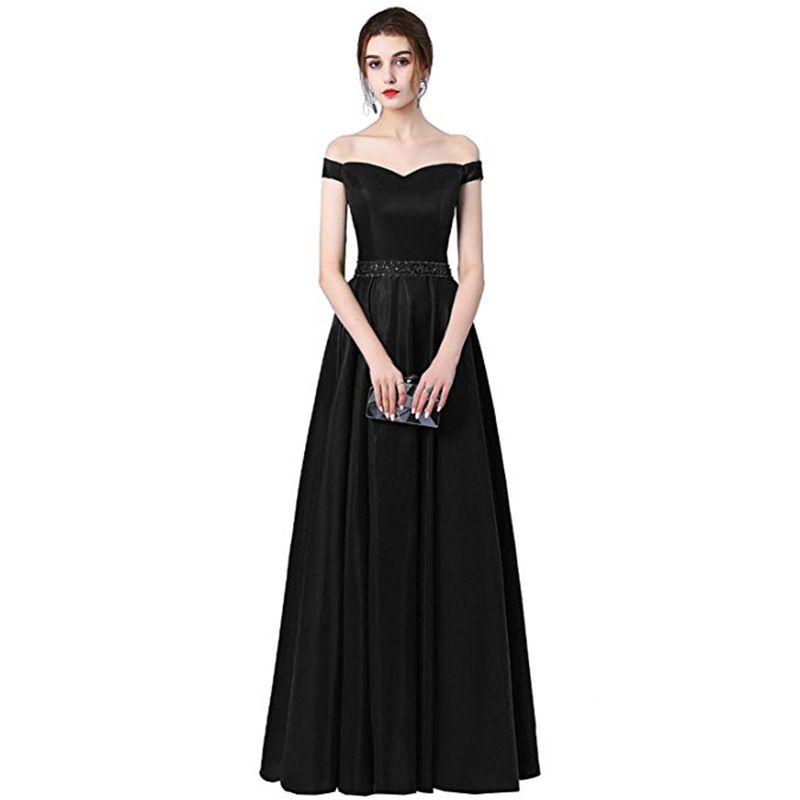 29b00c9f33 Sexy Off the Shoulder Prom Dresses 2018 Long Floor Length A-line Dress  Evening Wear Formal Vestido de Festa Free Shipping Pageant Gowns