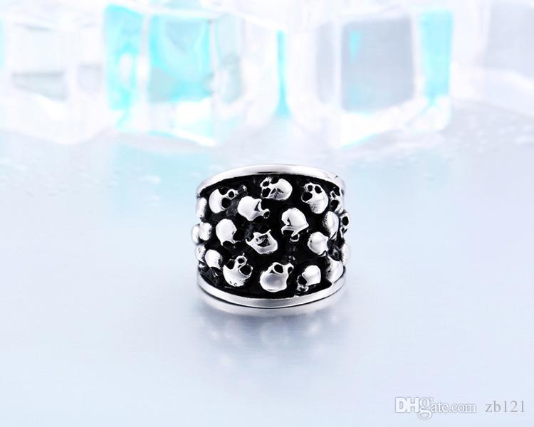 Wholesale-25mm Heavy Gothic Punk Black Silver Tone Horror Skulls 316L Stainless Steel Mens Ring US Sz 7 8 9 10 11 12 13