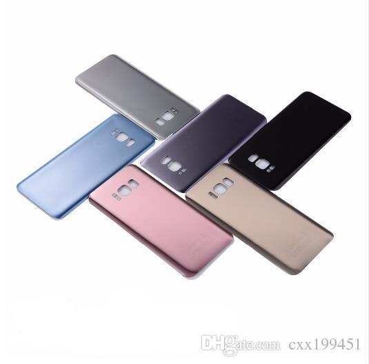 Boîtier arrière en verre de logement de couvercle de batterie + autocollant adhésif pour Samsung S8 G950F S8 plus S8 + G955F avec le logo