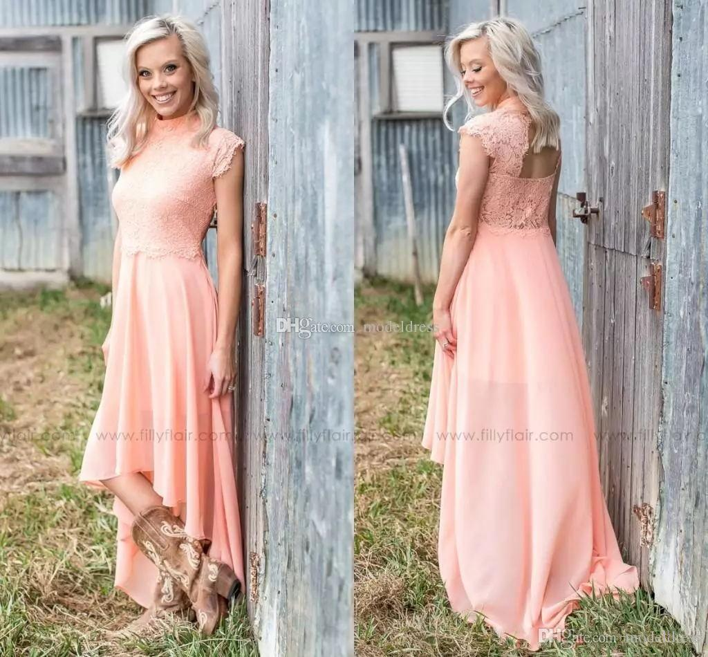 448c0f23654 Peach High Low Bridesmaid Dresses High Neck A Line Appliques Chiffon Garden  Country Short Wedding Guest Gowns Maid Of Honor Dress Arabic Modest  Bridesmaid ...