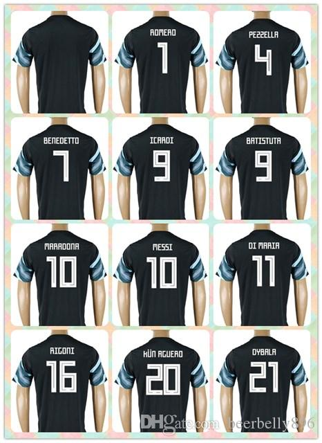 e4760930431 ... ebay online cheap customized thai 2018 world cup country jersey  argentina 7 benedetto 9 kun aguero