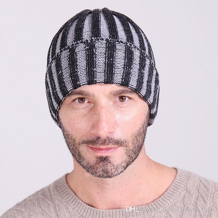 181b26fdec4 2018 New Stripe Men s Winter Hat Women Fashion Caps Bonnet Skullies ...