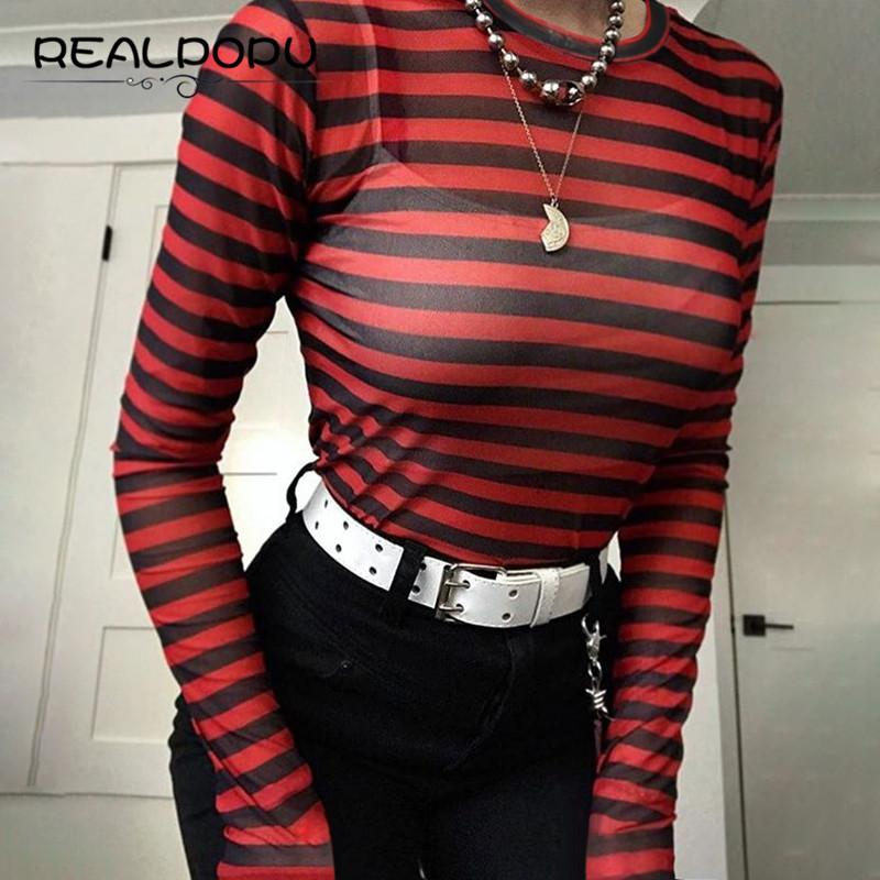 f23c6681e0fd6 Wholesale Mesh Crop Top Tee Red And Black Stripe T Shirt Women Bodycon Long  Sleeve O Neck See Through Sexy Fashion Skinny Cropped T Shirt Shirt Designs  Best ...