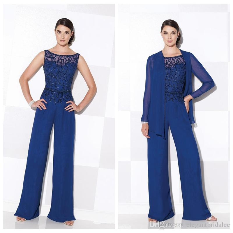 2019 Formal Chiffon Blue Mother Of The Bride Pant Suits Elegant Beading Jackets Jumpsuits Long Sleeve Summer Formal Dresses Custom