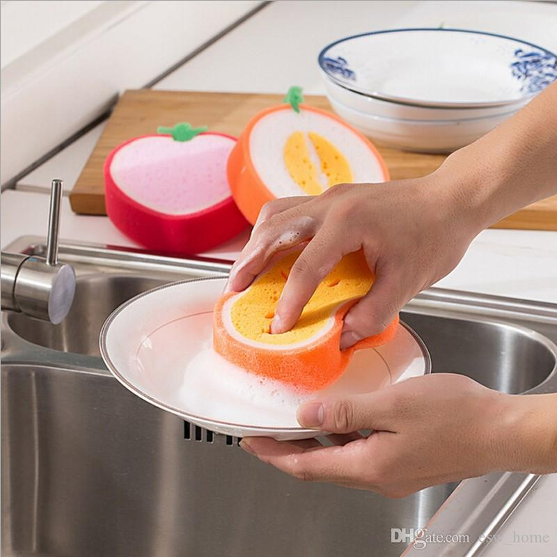 Magic Dish Towel Fruit Shape Thicken Microfiber Sponge Cloth Cleaning Dish Rags Scouring Pads Kitchen Accessories