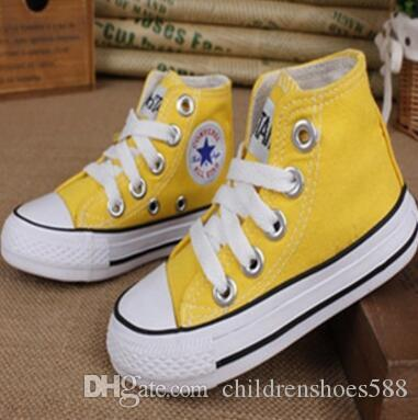 Promotional Hot Sale Kids Canvas Shoes Fashion High Low Children Shoes Boys and Girls Sports Classic Canvas Shoe Size 23-34