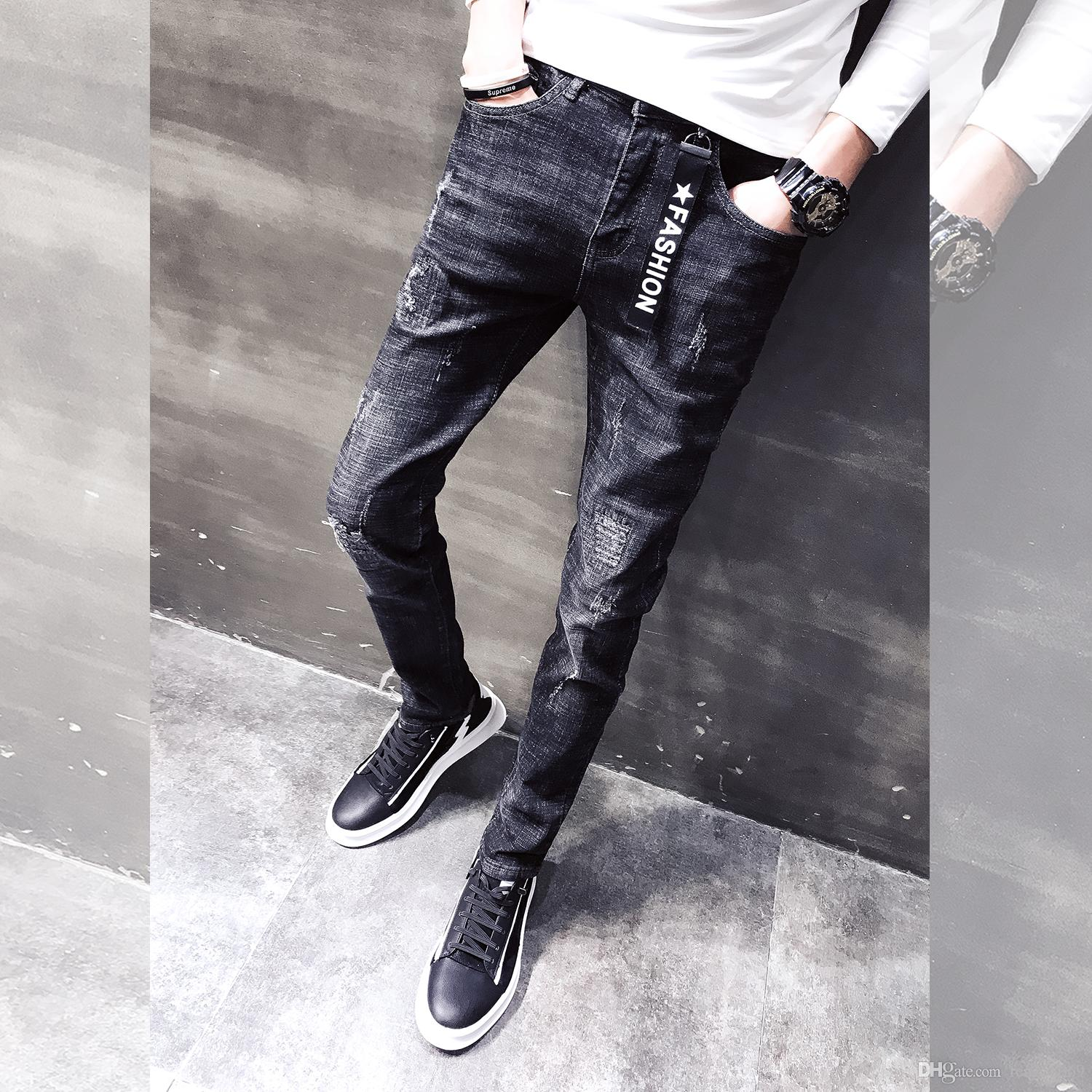 57306c46b293 2019 New Men S Jeans Trend Korean Version Of The Slim Feet Pants Trend Youth  Pants Casual From Fen258369