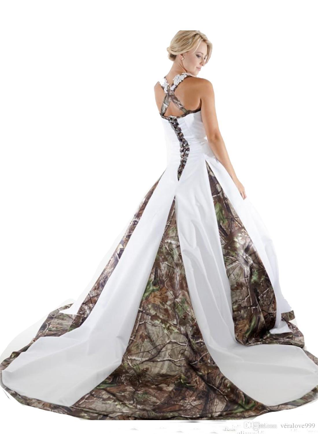 New Camo Wedding Dresses With Appliques Ball Gown Long Camouflage Wedding Party Dress Plus Size Bridal Gowns