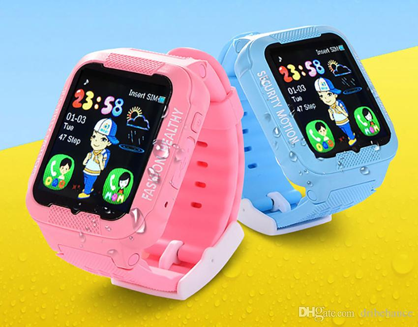 New 2018 Kids Real GPS tracker Smart Watch Waterproof Positioning Safe  Smartwatch with Camera SIM Call Location Device Tracker K3 DHL 5pcs