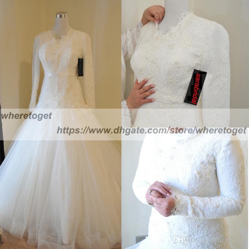 23e4cb54d0d Discount Vintage Modest Muslim Wedding Dresses Applique Lace Arabian Dubai Wedding  Gown Catholic Christian Bridal Dress Long Sleeve High Neck Buttons ...