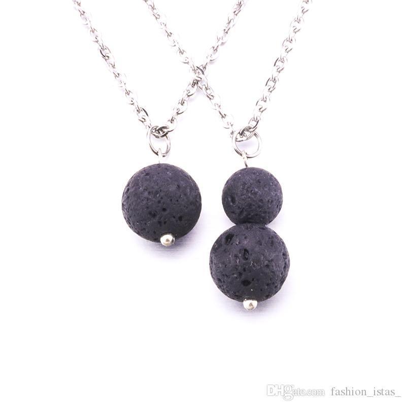 6mm 8mm 10mm Pendientes de Piedra de Lava Collar DIY Aromaterapia Aceite Esencial Difusor Cuelga Pendientes Joyería de las mujeres