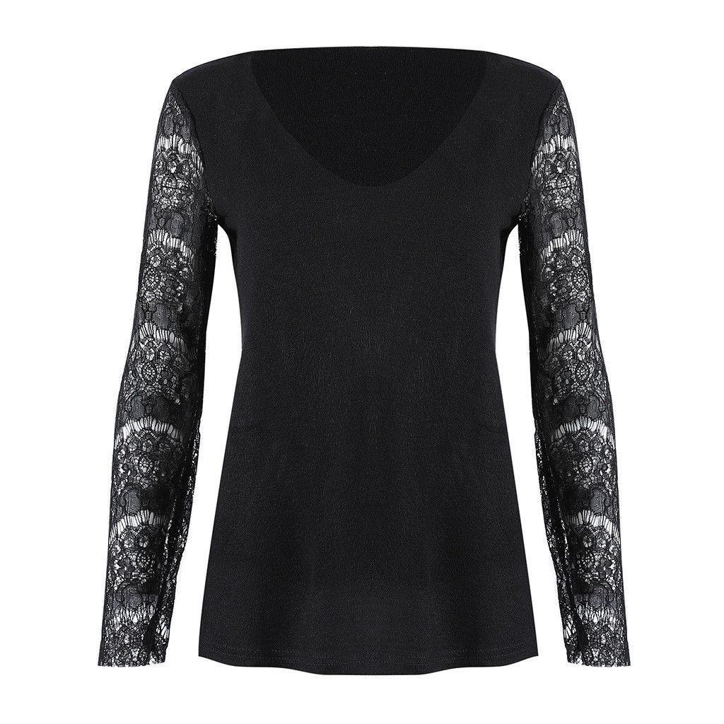d27d5d93e3c Ladies Autumn Solid Casual Lace Tops Tee Shirt Fashion Women Long Sleeve V-neck  Loose T-Shirts Online with  33.06 Piece on Modeng04 s Store