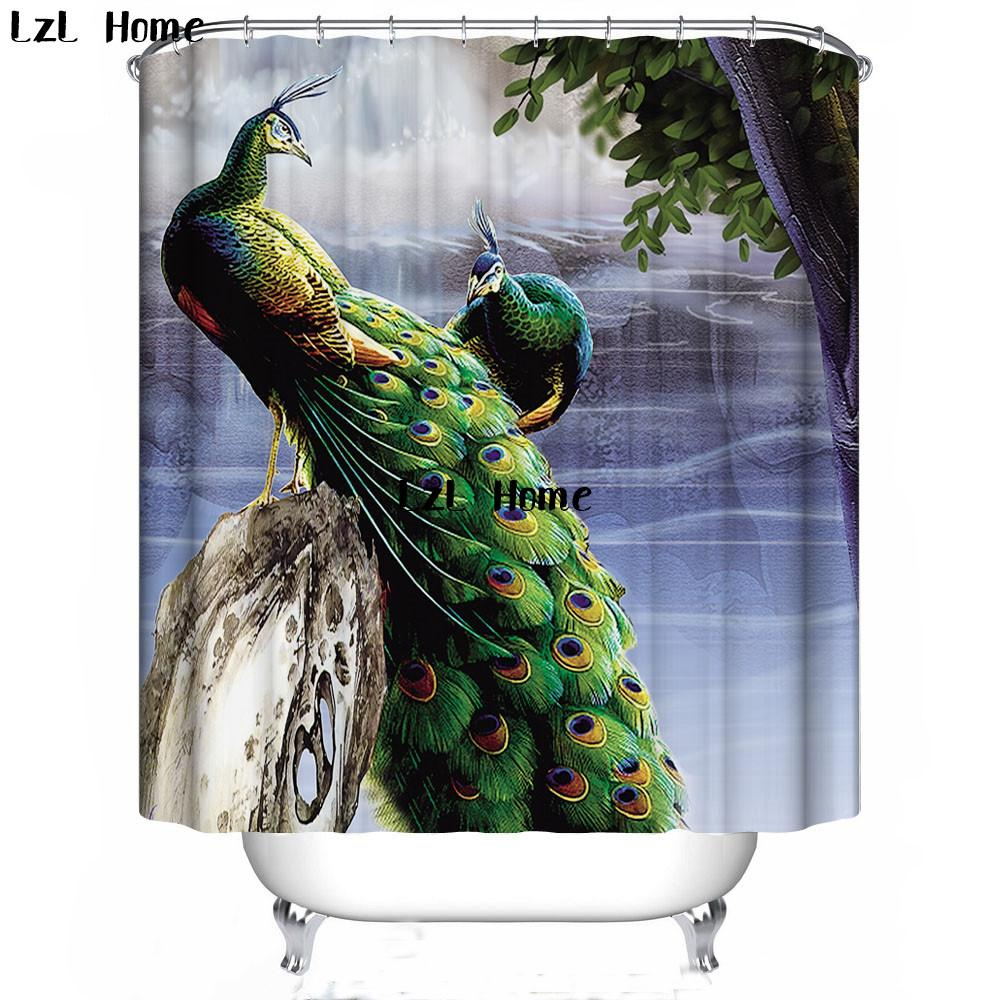 2018 LzL Home 3D Animal Printed Shower Curtains Elephant Panda Wolf Bath Products Bathroom Decor With Hooks Waterproof Polyester From Goutour