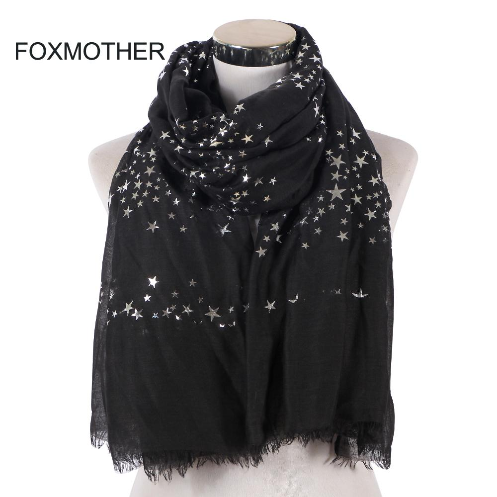 743161dcf2ebc FOXMOTHER New Fashion Black White Navy Color Foil Sliver Star Scarf Fringe  Hijab Muslim Shawl Wraps Star Scarves Women Ladies Bandana Hairstyles  Yellow ...