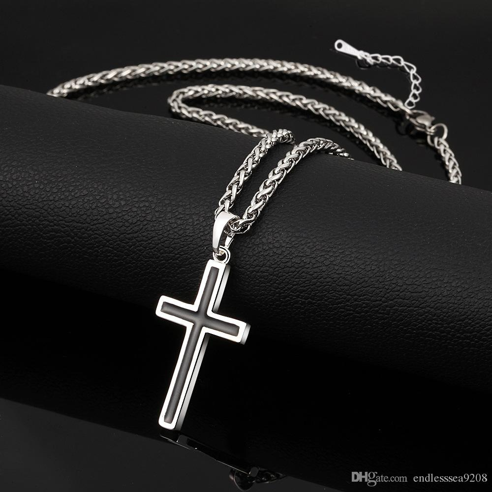 Latin Hıristiyan Çapraz Kolye Kolye Dini Takı 18 K Altın Kaplama / Paslanmaz Çelik Moda Çapraz Takı Mükemmel Hediye Aksesuarları