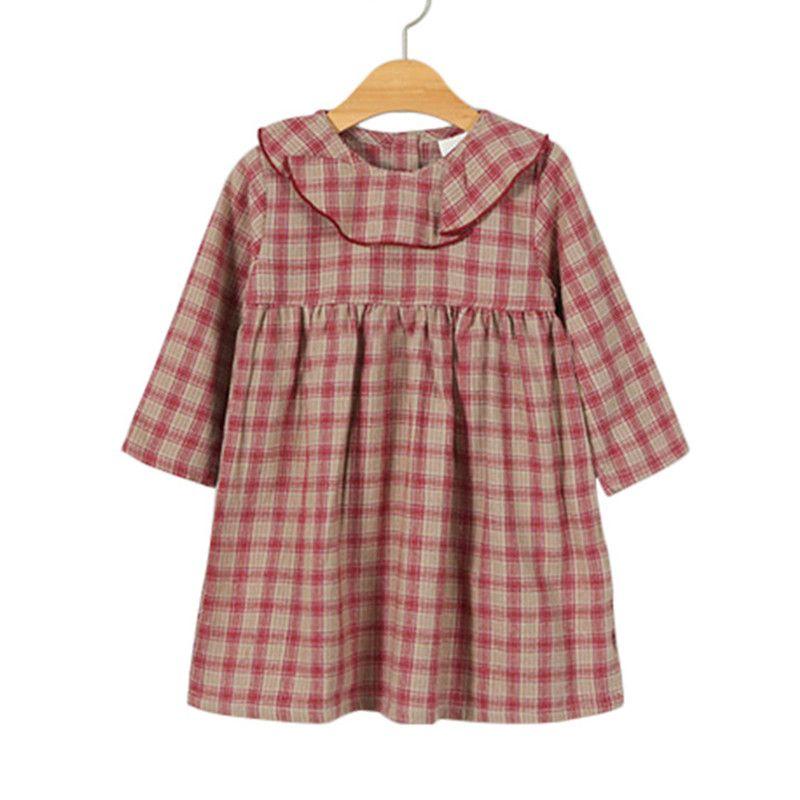 5c1796500763 2019 12M To 5 Year Baby & Little Girls Ruffle Collar Long Sleeve Plaid  Tartan Flare Dress Children Fahsion Fall Autumn Cotton Dresses From  Callshe, ...