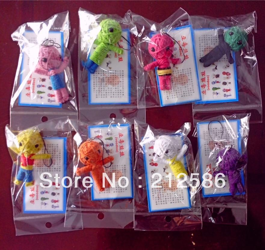 Smafes wholesale 50pcs/lot Handcraft Voodoo Doll Toy With Strap As Mobile Pendant,Keychain, Free Shpping
