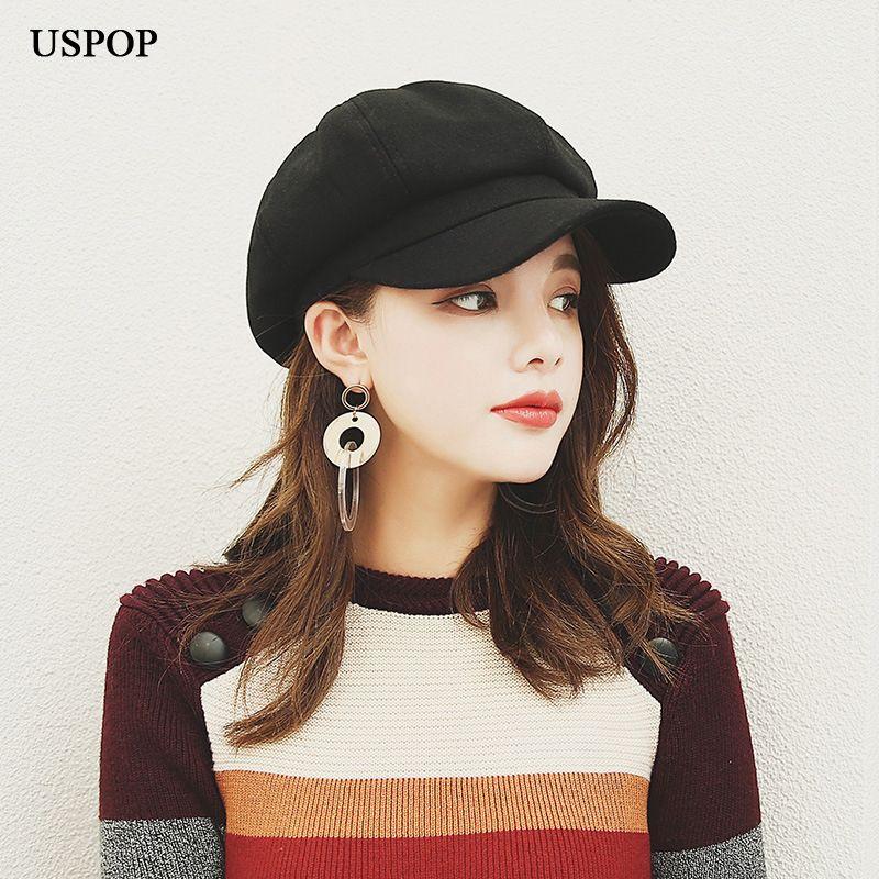 Acheter USPOP 2018 Nouvelles Femmes Béret De Laine Chapeau Style  Britannique Rétro Couleur Unie Octogonale Chapeau Femelle Épais Chaud Hiver  Chapeaux ... e138b74bd69