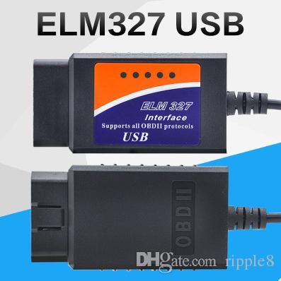 ELM327 USB Plástico Calbe ELM 327 Plástico OBD2 Escáner ELM 327 OBD II Herramienta de Diagnóstico 50 unids / lote