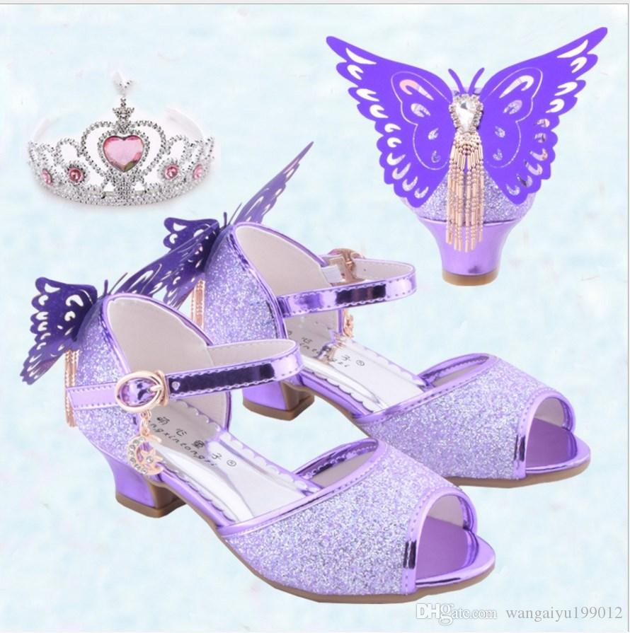 271c11e11d0 2018 new summer girls high heel sandals children sandals little girls with  wings fish mouth purple princess shoes
