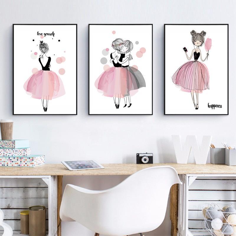 Best Cute Cartoon Girl Canvas Art Print Poster Kids Room Wall Decor