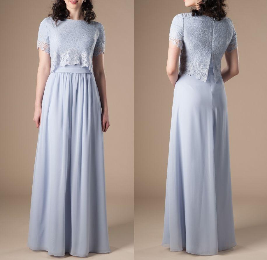 Cornflackower Blue Dongest Modest Bridesmaid платья с короткими рукавами Кружева верхняя A-Line Формальное платье Boho Rustic Reviews
