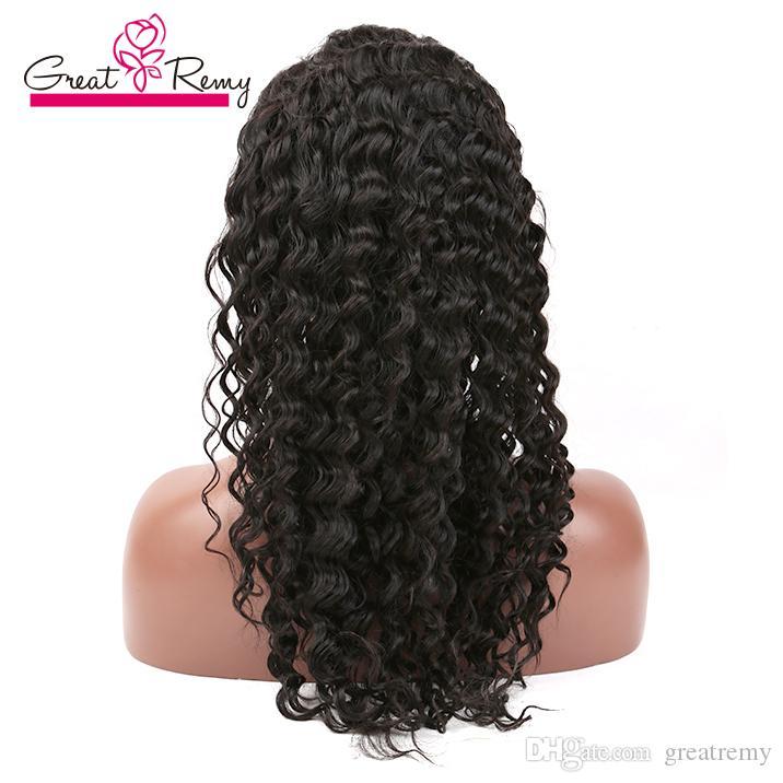 Greatremy® Pré-arrancada profunda Curly 360 Lace Wig com cabelo do bebê Virgin brasileiro do cabelo humano Grosso 22 * 4 * 2 Circular frontal com trama on Top
