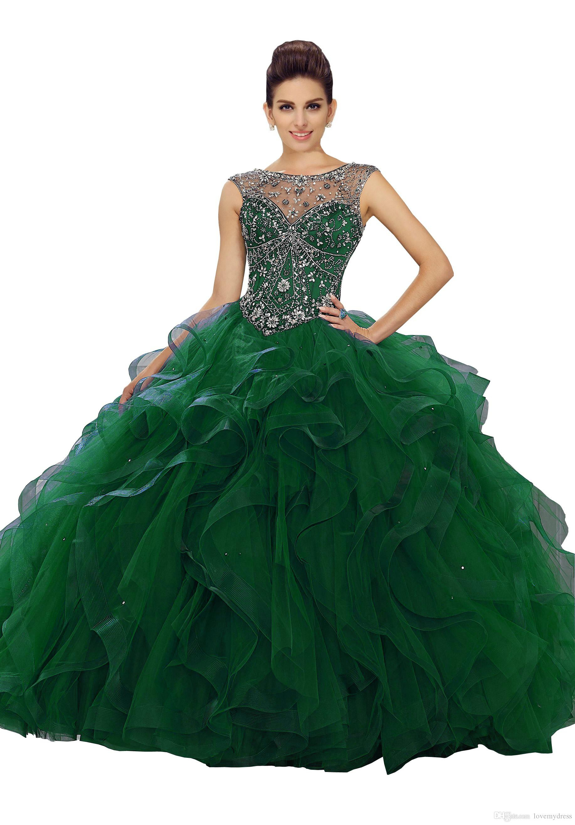 42eddb1aac4 Exquisite Green Quinceanera Prom Dress Ball Gowns Ruffles Tulle Cap Short  Sleeves Bateau Sheer Neck Crystal Beaded Hollow Back Evening Gowns Dresses  For ...
