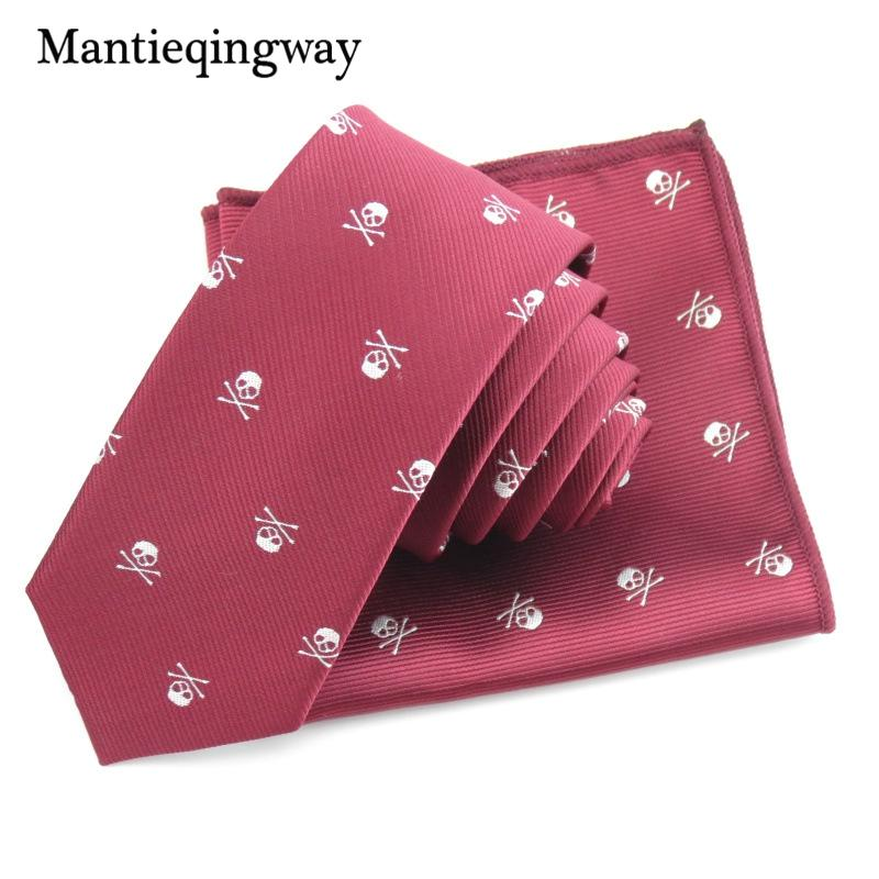 Compre Mantieqingway 6 Cm Mens Tie Hanky set Skull Pattern Skinny ...