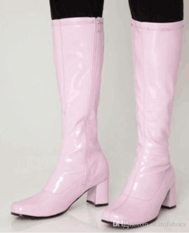 Art- und Weisesüßigkeitfarbe-Aufladungen klumpige Absatzknie-hohe Aufladungsfrauen-Parteischuhe der Schuhe 2018 shinny lederne Stiefel klumpige Ferse 6.5cm beschuht Schuhe