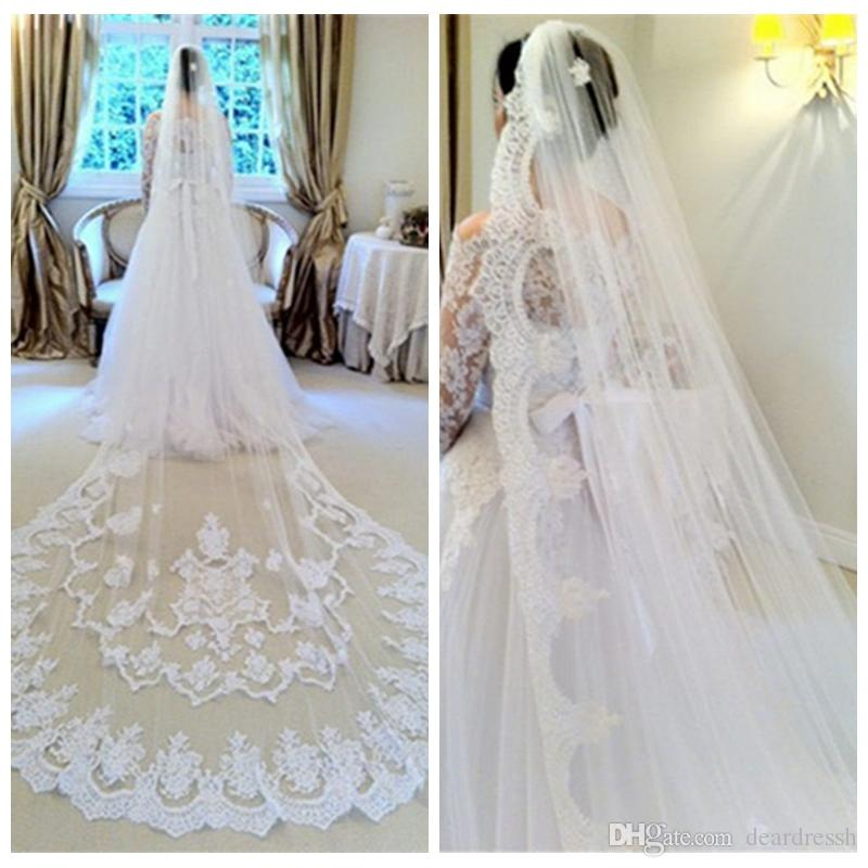 75d90f93aa Beautiful Lace Appliques Long Wedding Veils Cathedral One Layer Bridal  Accessories High Quality Bridal Veils Online with  74.29 Piece on  Deardressh s Store ...