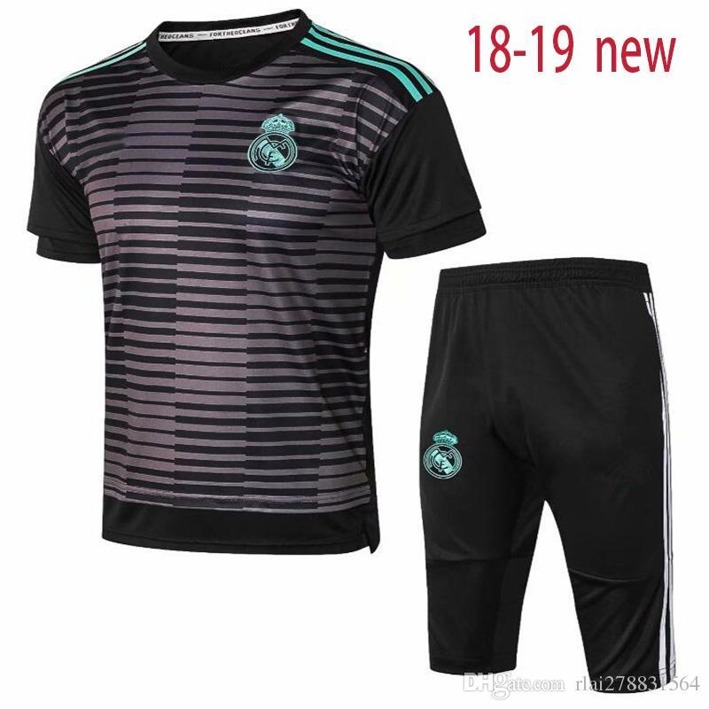 beccd7c918453 Compre 2018 2019 Nuevo Real Madrid Jersey De Fútbol Traje De Entrenamiento  3 4 Pantalones 18 19 ASENSIO SERGIO MODRIC RAMOS MARCELO BALE ISCO Camiseta  De ...