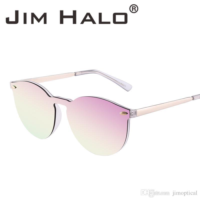 3b5a7cdf4c Jim Halo Mirrored Rimless Sunglasses Reflective Flash Lens One Piece Retro  Vintage Round Sun Glasses Women Men Trend Eyewear Oculos Gafas Heart Shaped  ...