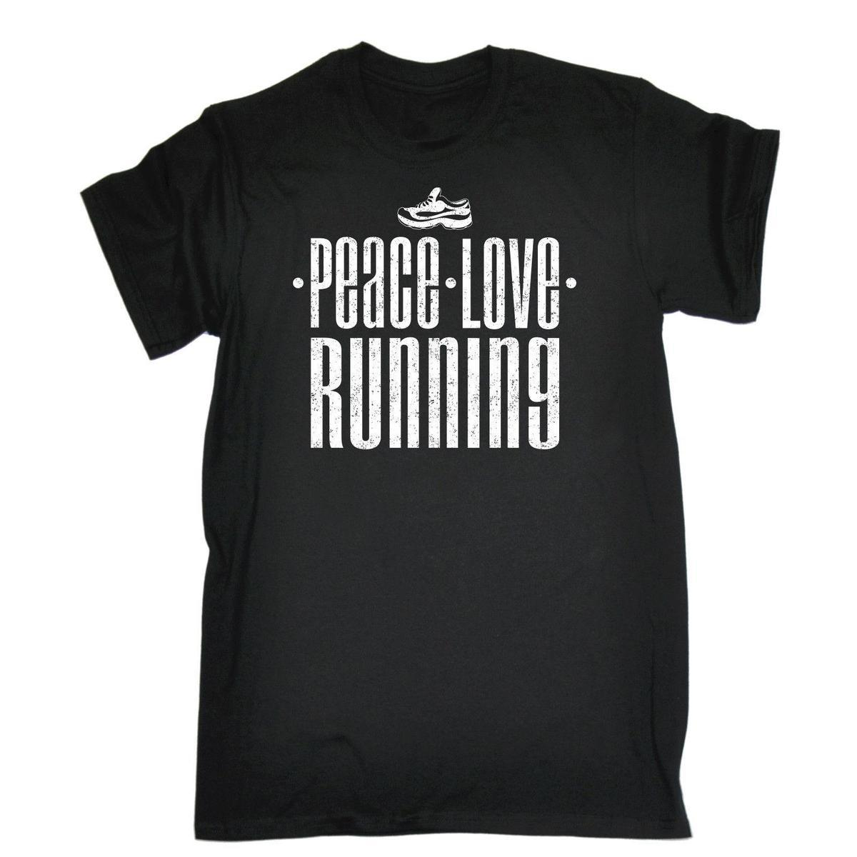 Peace Love Running T SHIRT Jogging Fitness Gym Training Tee Gift Birthday Funny Shirt And Shop Shirts Online From Lusi10 1263