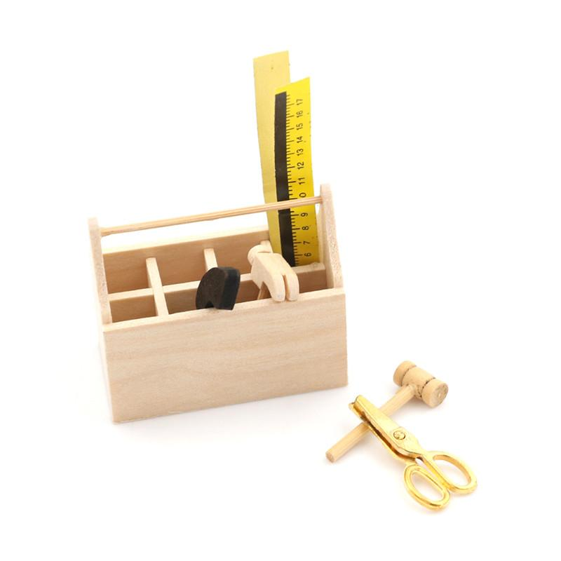 112 Dollhouse Miniature Wooden Toolbox With Tools Set Repair Kits