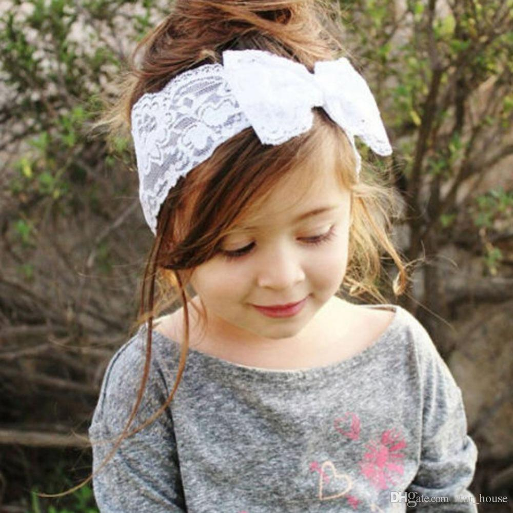 Cute Girl Kids New Born Babies Bow Hairband Turban Headband Headwear Lace  Hairband White Pink Purple Red With OPP Bag Paclage Womens Hair Pieces  Women Hair ... f1bd049916c