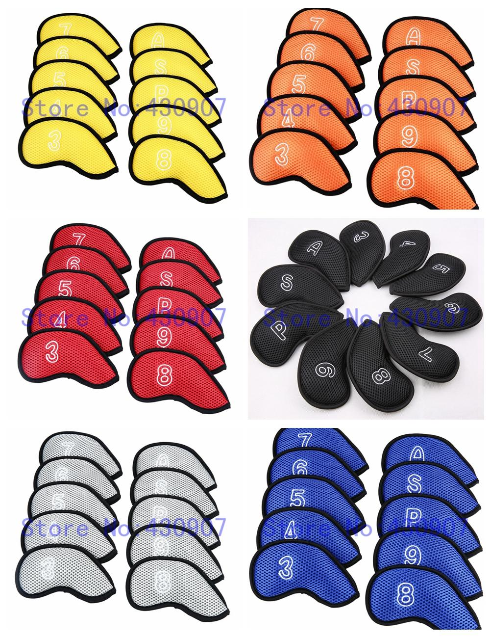 10pcs golf Iron cover Proctive Covers with Number Iron Club Head Cover 3-9 P A S
