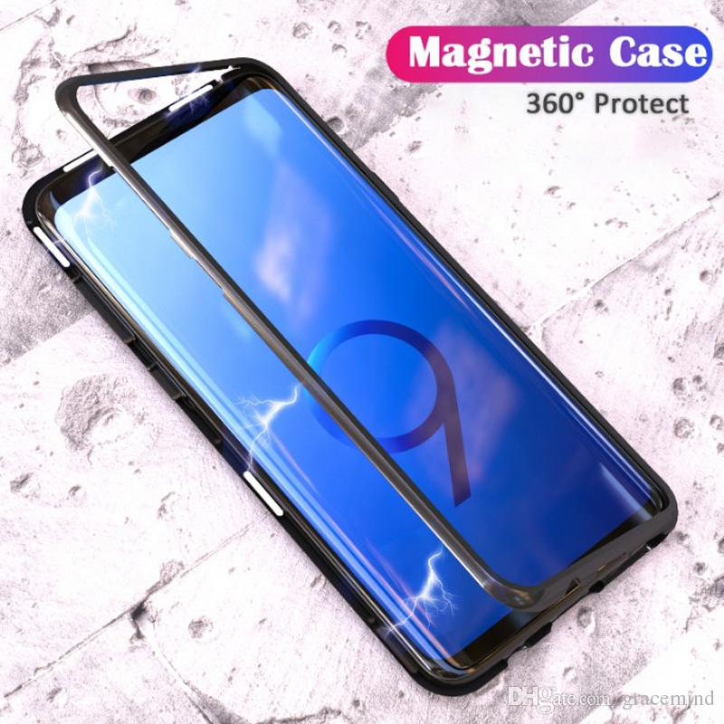 online store fb791 c984a Magnetic Adsorption Case for Samsung S9 S8 S7 Edge Tempered Glass Back Full  Body Slim Fit Ultra-Thin Case Transparent Magnet Case