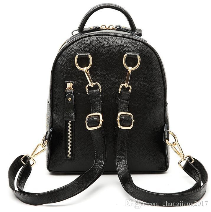 Europe style High quality LITTLE BEE women's Backpack Style Sport Backpack Genuine Leather Rivet bags for women and girls