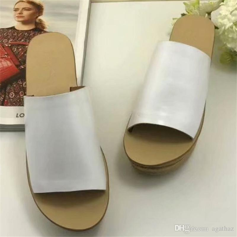 2018 Genuine Leather Women Wedge Slippers Platform Summer Scuffs Luxury Designer High Quality Ladies Leather Mules Loafers S888 best sale cheap online cheap sale shop eWITI3