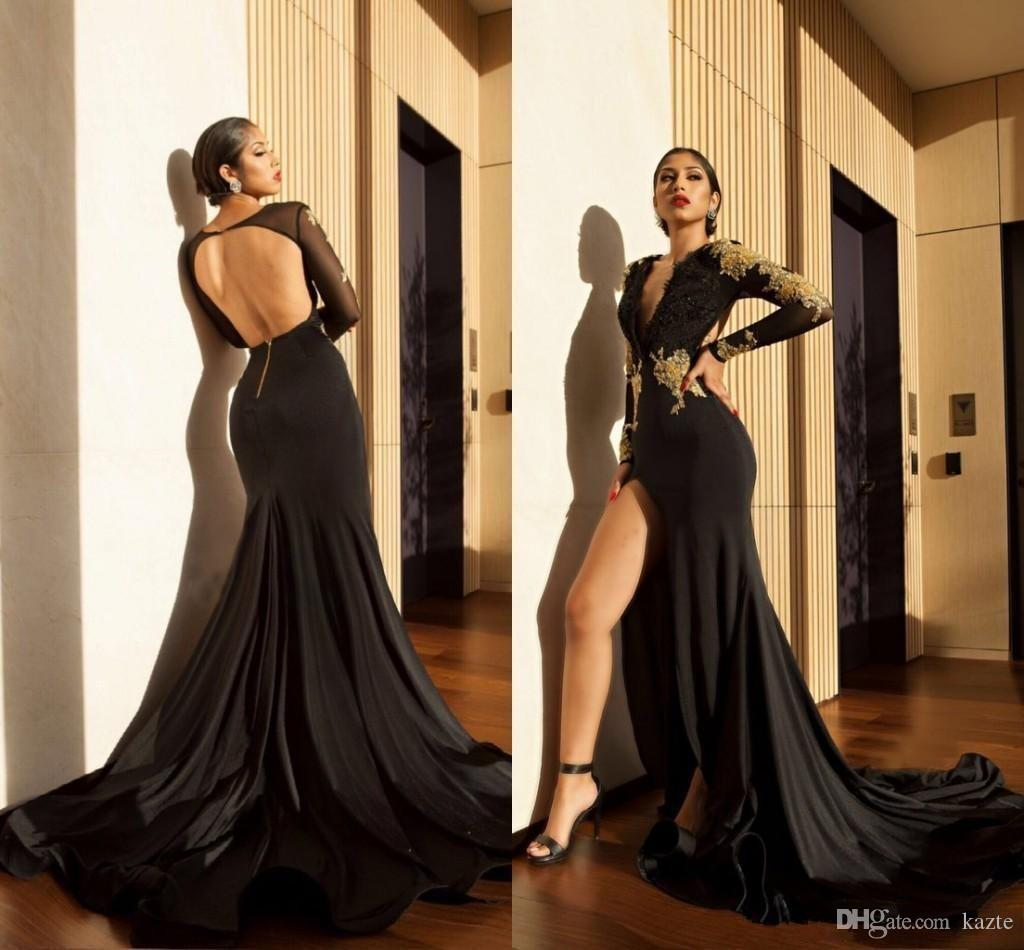 High Slit 2018 Prom Dresses Gold Lace Appliques Mermaid Sheer Long Sleeves Deep V Neck Open Back Sexy Black Evening Party Gowns